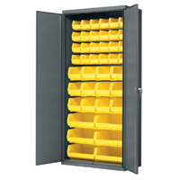 "Cabinet With Flush Doors - 36"" D x 18"" W x 78"" H with yellow AkroBins"