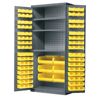 "Cabinet with 3 Shelves - 36"" D x 24"" W x 78"" H with yellow AkroBins"