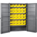 "Heavy-Duty Cabinet - 48"" D x 24"" W x 78"" H with shelves and yellow AkroBins"