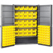 "Heavy-Duty Cabinet - 48"" D x 24"" W x 78"" H with shelves / louvers / yellow AkroBins"