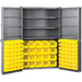 "Heavy-Duty Cabinet - 48"" D x 24"" W x 78"" Ht with shelves / louvers / yellow AkroBins"