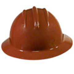 6pt, Ratchet, Classic Full Brim Style Hard Hat, Chocolate Brown