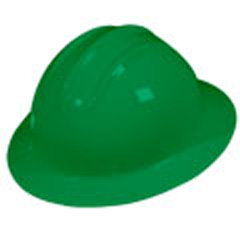 6pt, Ratchet, Classic Full Brim Style Hard Hat, Kelly Green