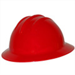 6pt, Pinlock, Classic Full Brim Style Hard Hat, Red