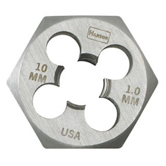 "10.0 mm - 1.25 mm, Metric Hex Dies (HCS) - 1"" OD - Carded"