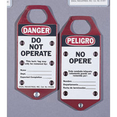 "Bilingual Lockout Tags - ""DO NOT OPERATE"" - Red Striped (Card of 5)"