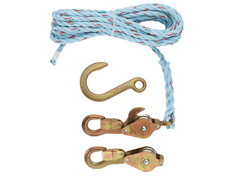 Block & Tackle  - Blocks with Standard Snap Hooks, 25' Rope, Forged Anchor Hook