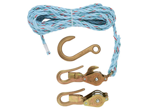 Block & Tackle - Blocks with Guarded Snap Hooks, 25' Rope, Forged Anchor Hook
