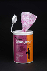 "72-Count Grime-Away™ Wipe Canister Individual presaturated 8"" x 12"" premoistened wipe"