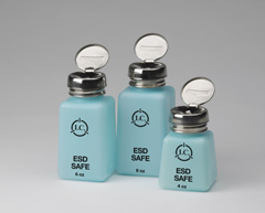 6 oz SOLVENT DISPENSERS, ESD SAFE BOTTLES with Standard Pump
